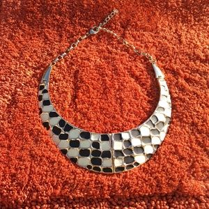 Talbots Black and White Enamel Folding Necklace